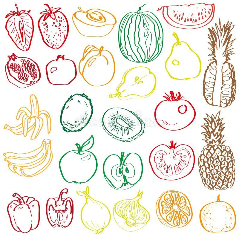 Owoc i warzywo w kontekście royalty ilustracja
