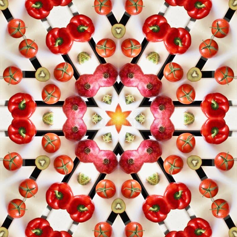 Owoc i warzywo w mandala ilustracji