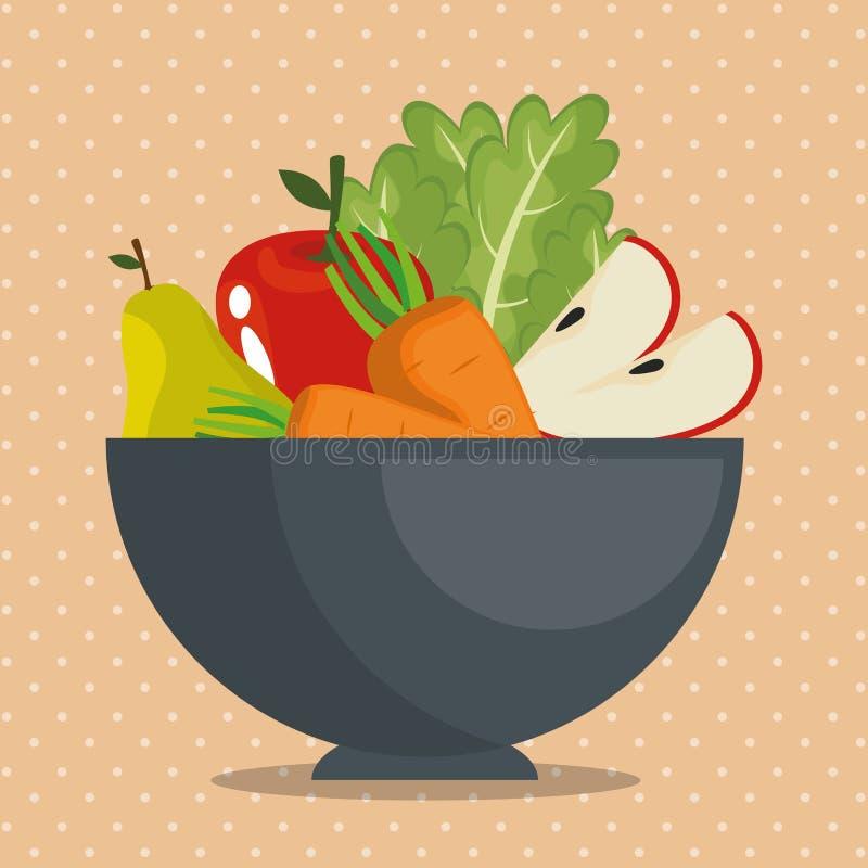 Owoc i warzywo zdrowy jedzenie ilustracji