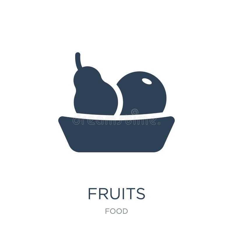 owoc ikona w modnym projekta stylu owoc ikona odizolowywająca na białym tle owoc wektorowej ikony prosty i nowożytny płaski symbo royalty ilustracja