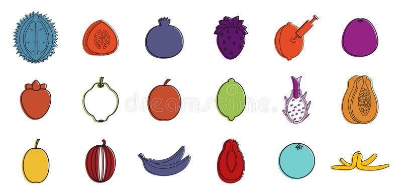 Owoc ikony set, koloru konturu styl royalty ilustracja