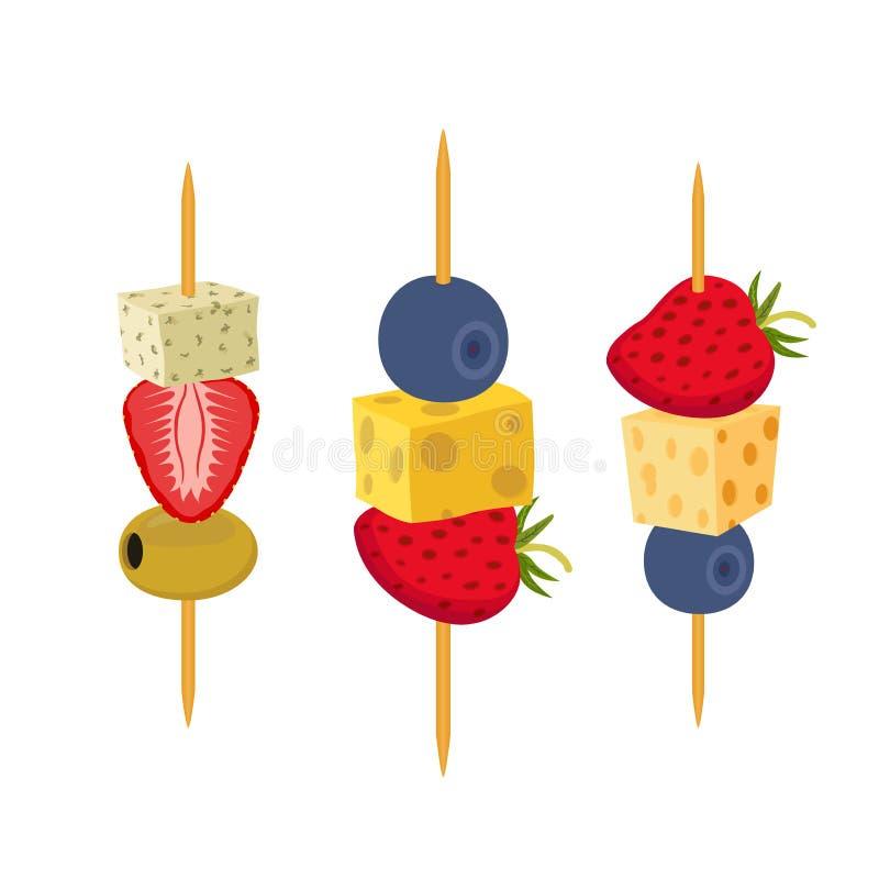 Owoc, jagod canapes Przekąska, zakąska dla restauracj, bufet Mieszkanie styl ilustracja wektor