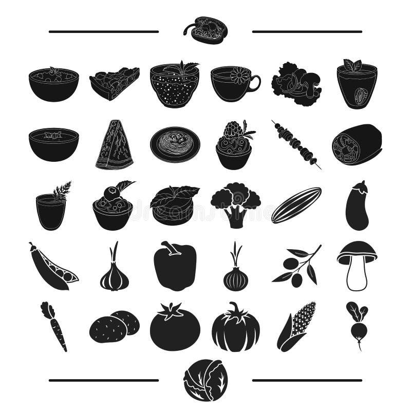 Owoc, kawiarnia, restauracja i inna sieci ikona w czerni, projektujemy kukurudza, rzodkiew, głowa, ikony w ustalonej kolekci ilustracji