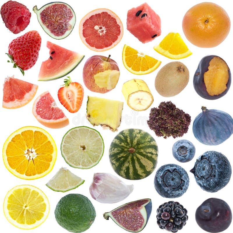 Owoc kolaż odizolowywający na bielu (ikona rozmiar) obraz stock