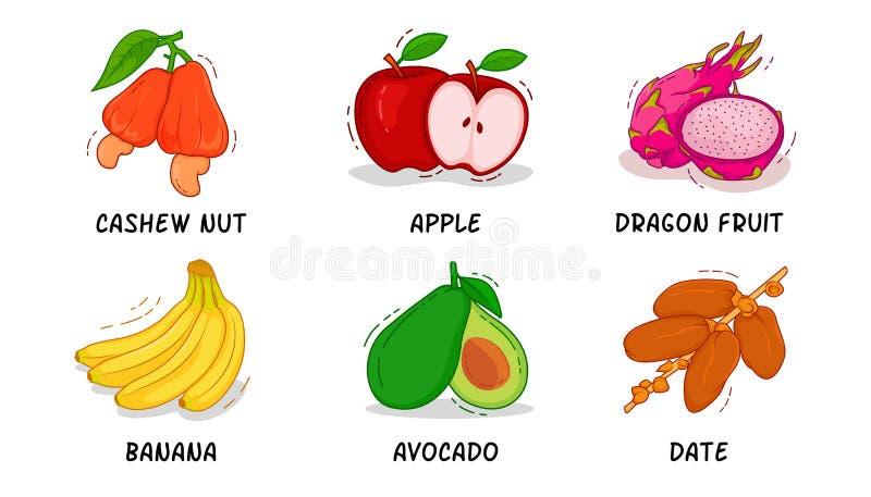 Owoc, owoc kolekcje, nerkodrzew dokrętka, Apple, smok owoc, banan, Avocado, data zdjęcie stock