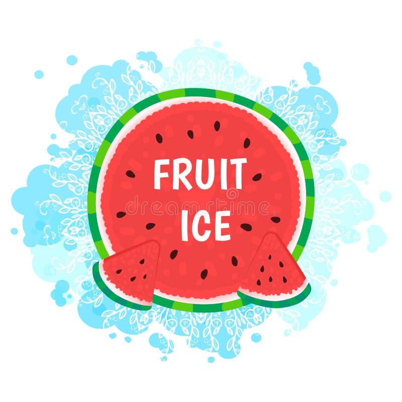 Owoc l?d Arbuza round z błękitna ręka rysującym kształtem Wektorowa ilustracja na bielu ilustracja wektor