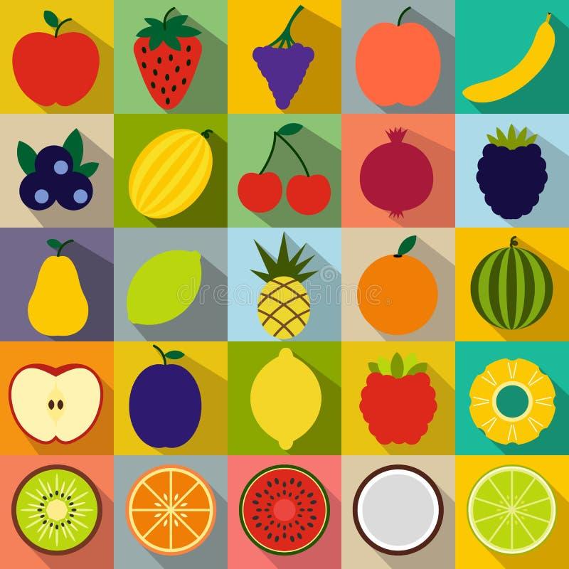 Owoc mieszkania ikony ilustracja wektor