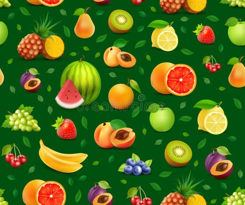 Owoc na Wektorowym Bezszwowym tle - Projektuje element dla pokrywy czasopismo lub signboard ilustracja wektor