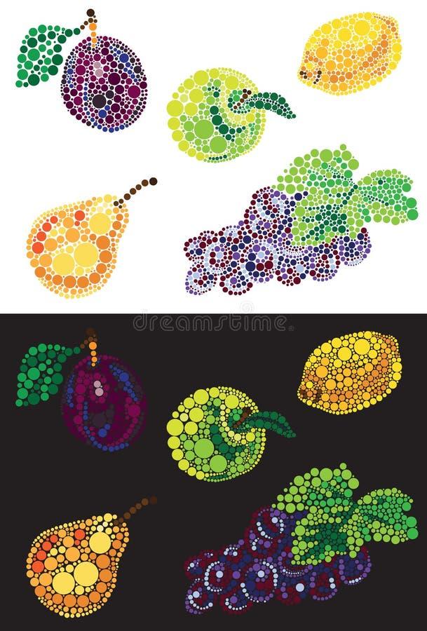 Owoc od okrąg jabłczanej bonkrety śliwkowej cytryny i winogron royalty ilustracja