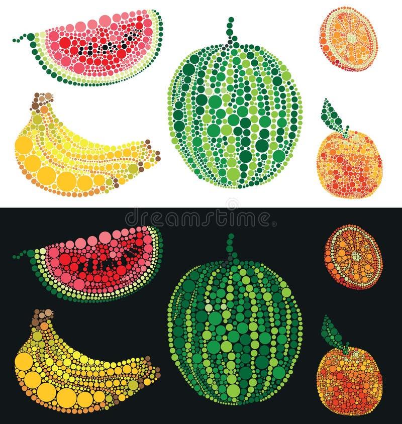 Owoc od okręgu arbuza banana i pomarańcze ilustracja wektor