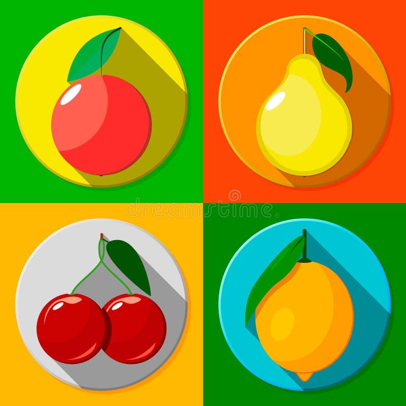 Owoc Płaskie ikony ilustracja wektor
