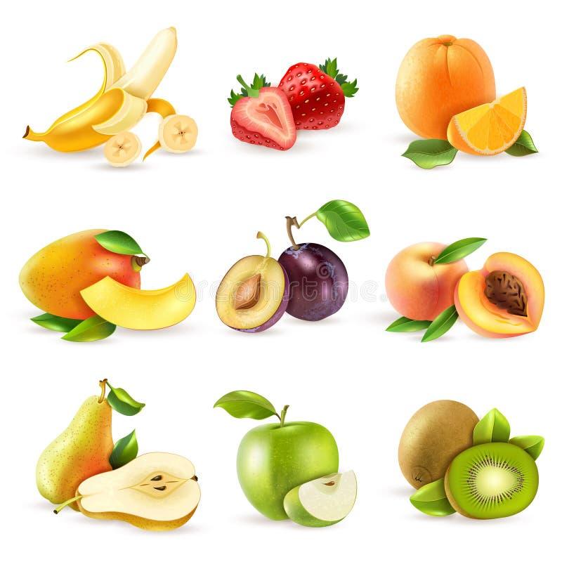 Owoc płaskie ikony ustawiać ilustracji