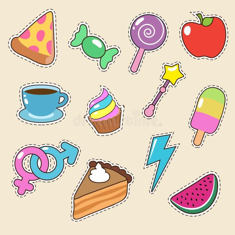 Owoc, pizzy, kawy i cukierku majcherów wektoru ikony, Dziewczyny moda łata kolekcję ilustracja wektor