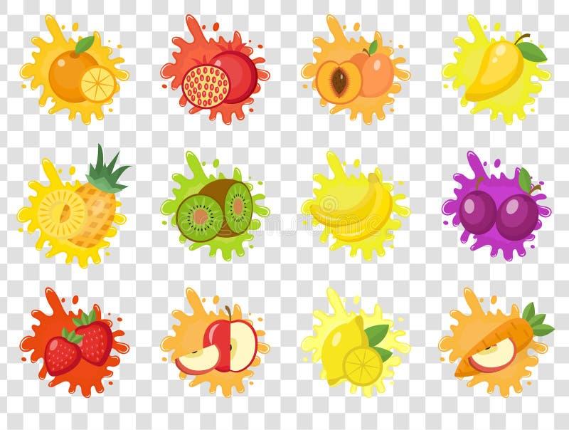 Owoc pluśnięcia set etykietki Owoc pluśnięcia, kropla emblemat odizolowywający na przejrzystym tle Pluśnięcia i kleksa zestaw royalty ilustracja
