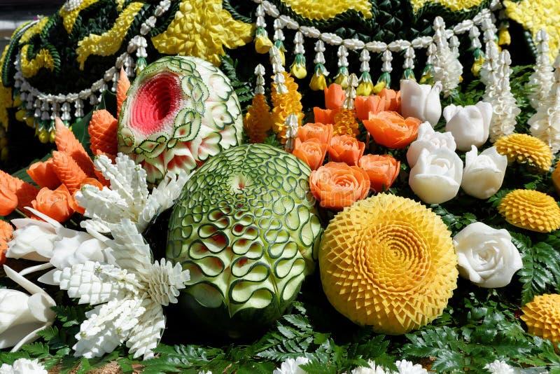 Owoc rzeźbiąca dekoracja od Chiang Mai kwiatu festiwalu, Tajlandia obrazy royalty free