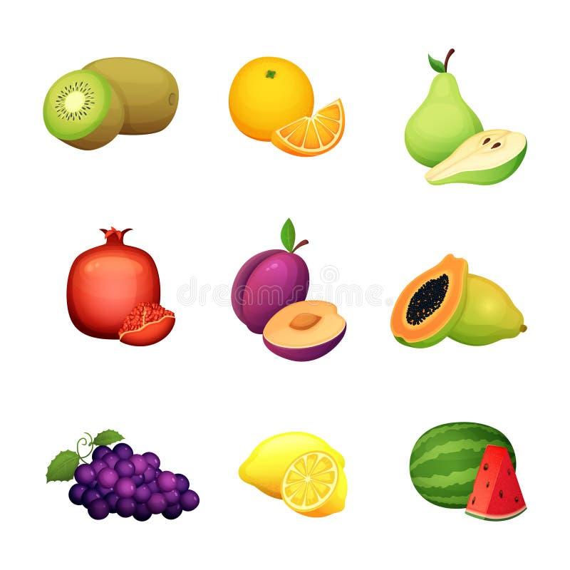 Owoc set Kreskówki wektorowa ilustracja kolorowego projekta świeży rolny żniwo royalty ilustracja