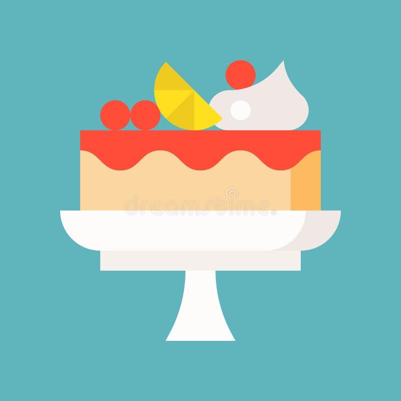 Owoc tort na stojaku, cukierkach i ciasto secie, płaska projekt ikona royalty ilustracja