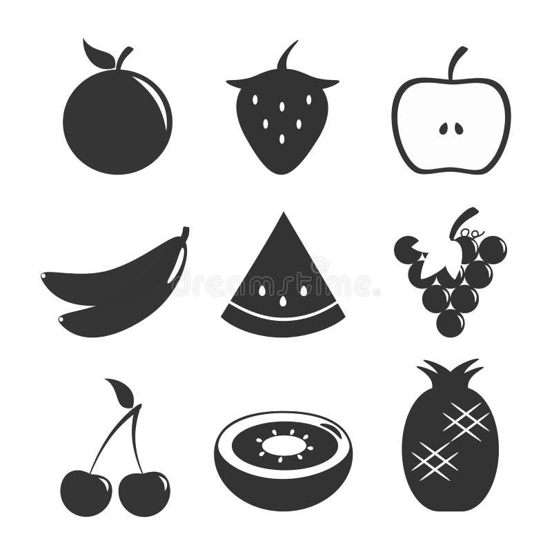 Owoc Ustalony Czarny biel zdjęcia stock