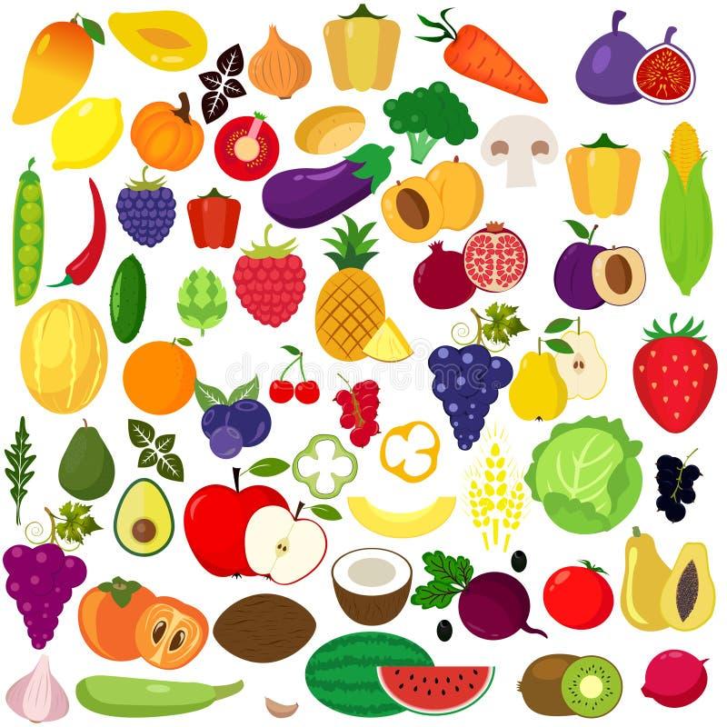 owoc ustawiają warzywa ilustracji