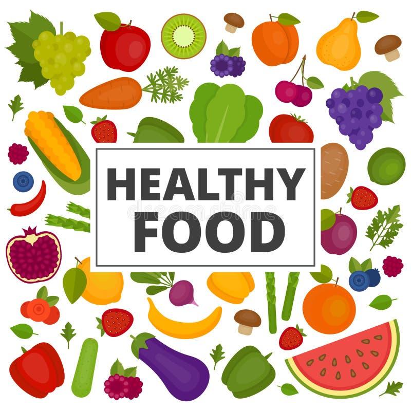 owoc ustawiają warzywa Organicznie i Zdrowy jedzenie Mieszkanie styl, ilustracji