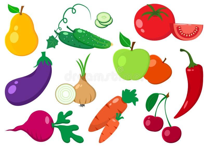 owoc ustawiają warzywa wektor ilustracja wektor