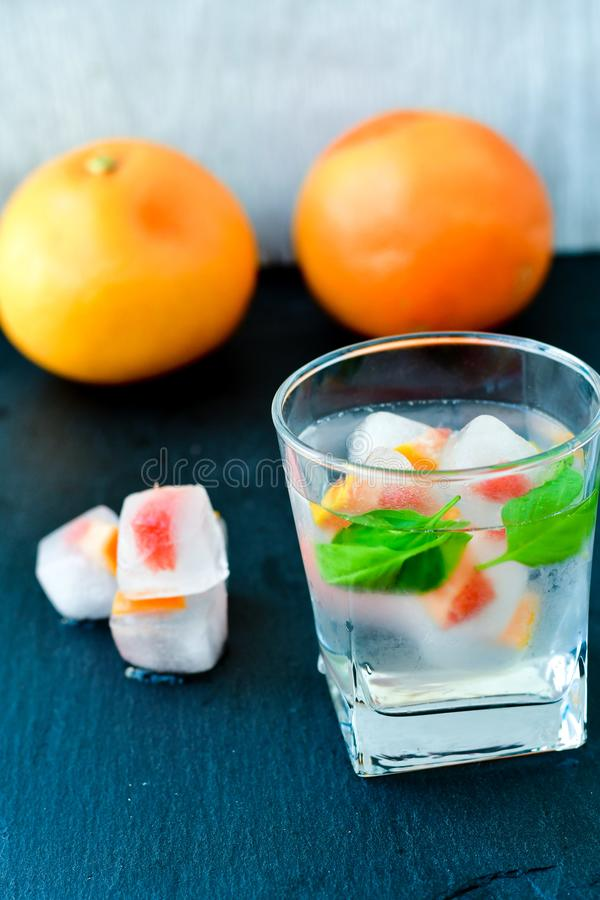Owoc w kostkach lodu fotografia stock