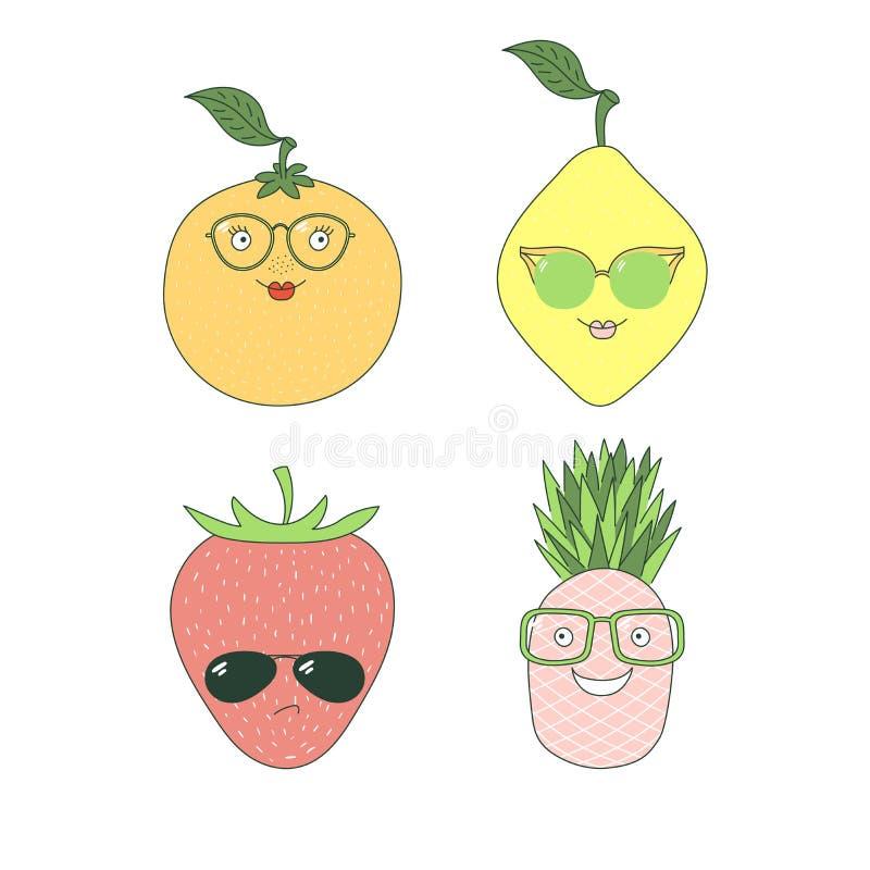 Owoc w szkło majcherach ilustracja wektor