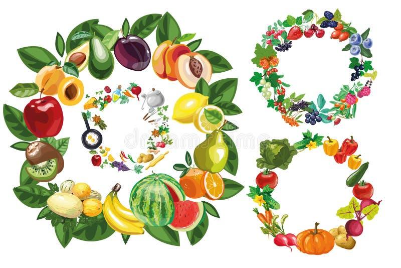 Owoc, warzyw, jedzenia i jagod ram kolekci set, royalty ilustracja