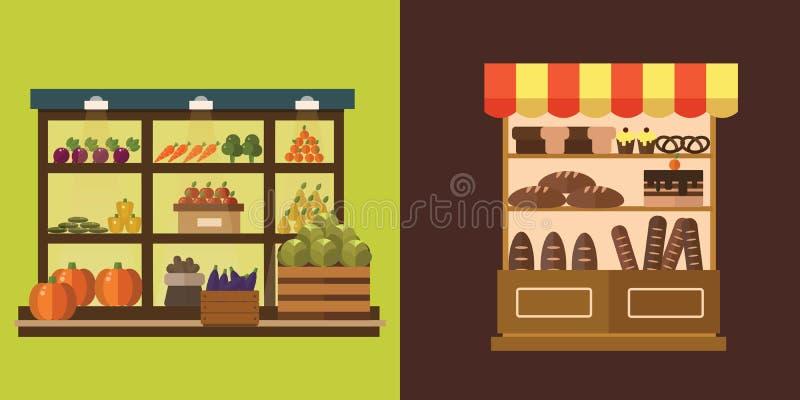Owoc, warzywa, dojni produkty, mięso, piekarnia sklepu kramu wektoru set royalty ilustracja