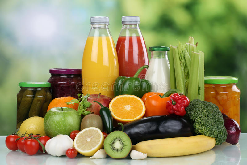 Owoc, warzywa i soku pomarańczowego napój, zdjęcie royalty free