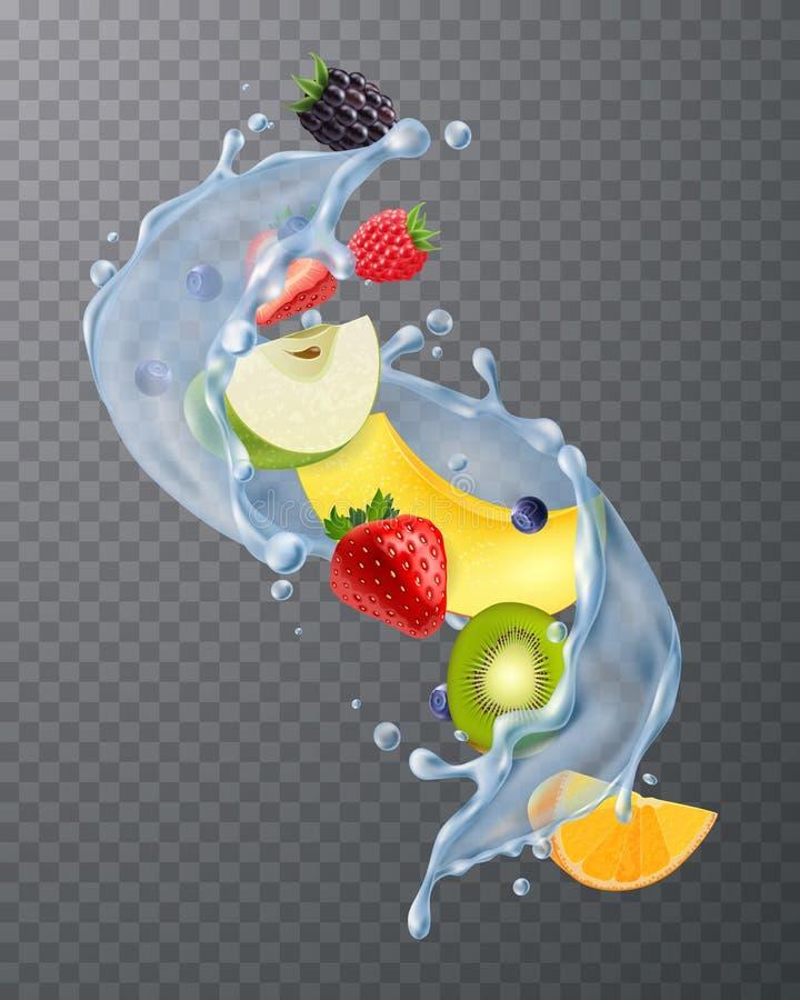 Owoc wody pluśnięcie Przejrzysty royalty ilustracja