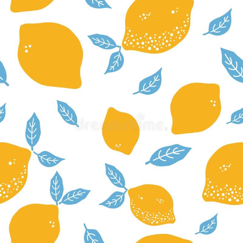 Owoc wręczają patroszonego bezszwowego wzór Cytryny tekstura Zdrowego i świeżego cytrusa biały tło z zielonymi żółtymi elementami ilustracji