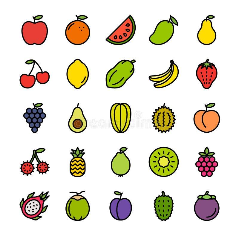 Owoc Wypełniający kontur ikony set ilustracji