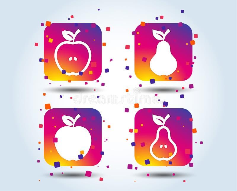 Owoc z liść ikonami Apple i bonkreta ilustracja wektor