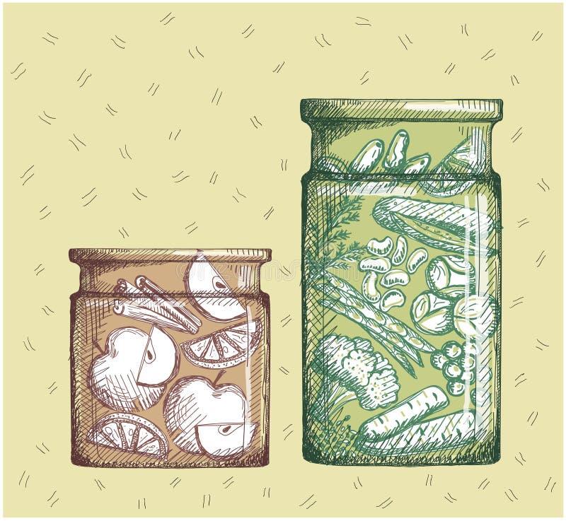 owoc zakonserwowany warzywa Przyskrzynia z plasterkami i warzywo konserwować assorti jabłka i cytryny ilustracji