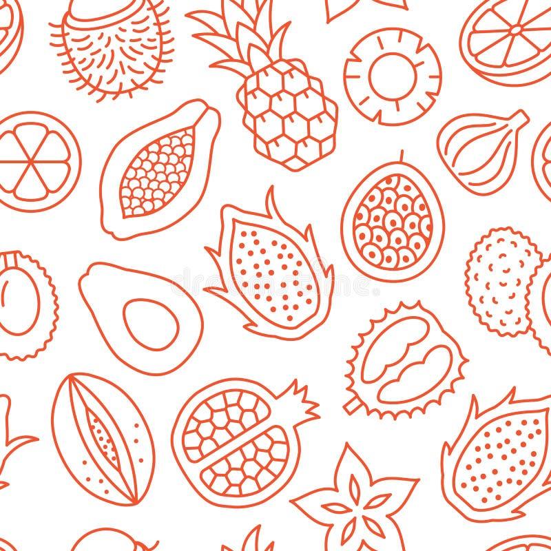 Owoce egzotyczne w tle, abstrakcyjny wzór żywności bez szwu Tapeta z owoców tropikalnych z papayą, ananasem, fig royalty ilustracja