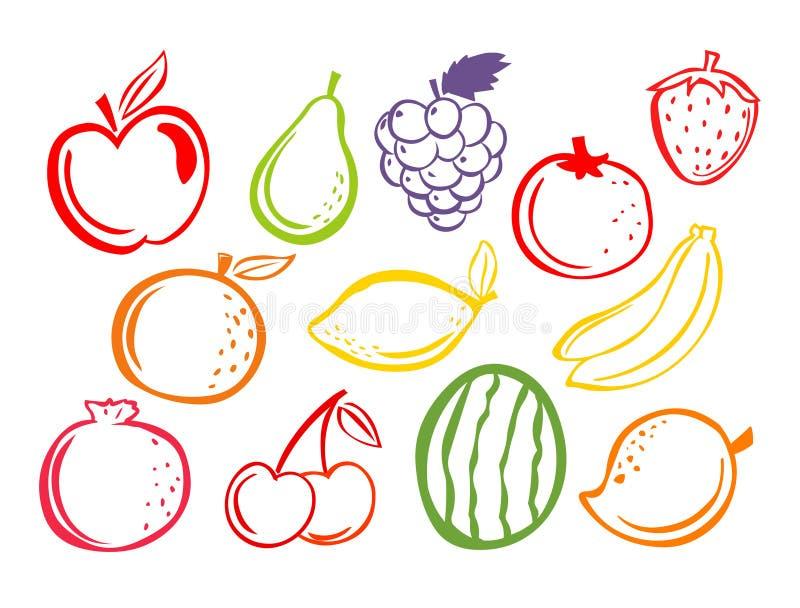 owoce ikony Set owoc illustartion royalty ilustracja