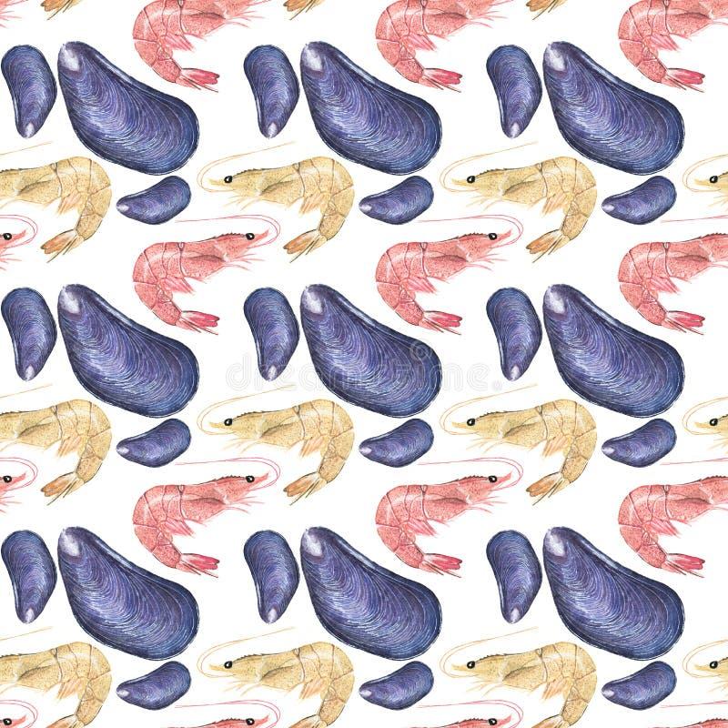 Owoce morza Bezszwowy akwarela wzór z ostrygami ilustracji