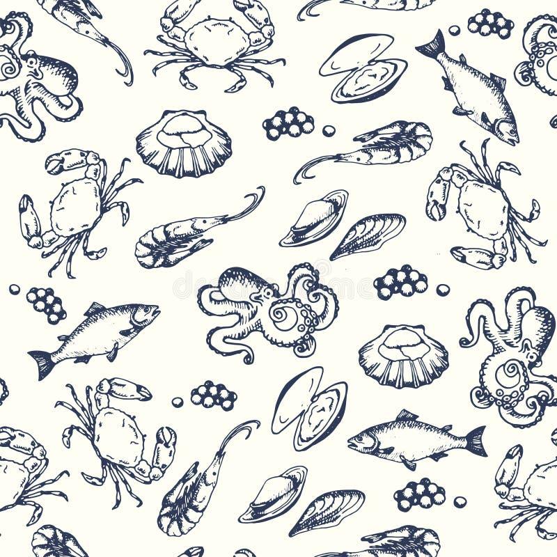 Owoce morza bezszwowy pettern Ręki rysować wektorowe ilustracje Ocean ryba w grawerującym stylu Nakreślenie krab, homar, garnela ilustracja wektor