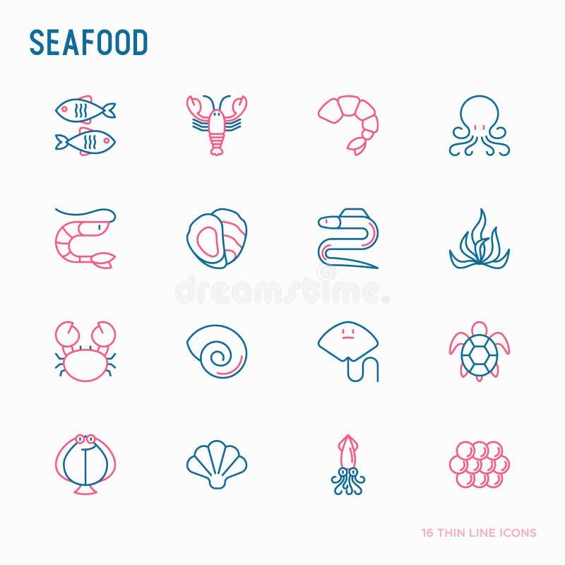 Owoce morza cienkie kreskowe ikony ustawia?: homar, ryba, garnela, o?miornica, ostryga, w?gorz, ga??zatka, krab, rampa, ? ilustracji