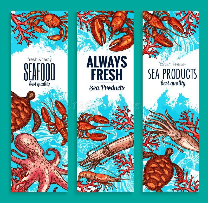 Owoce morza dennego jedzenia sztandarów wektoru restauracyjny set ilustracji