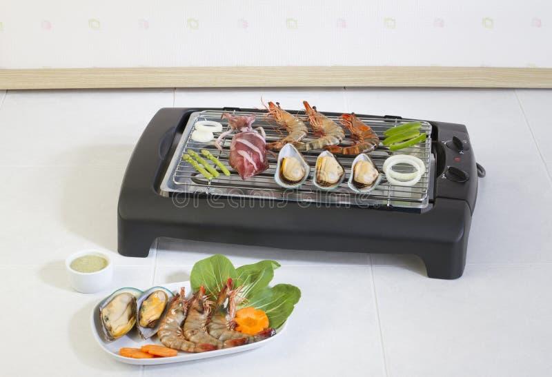 Owoce morza grilla grille na kuchence obrazy royalty free