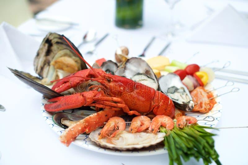 Owoce morza homara gość restauracji na stole zdjęcie royalty free