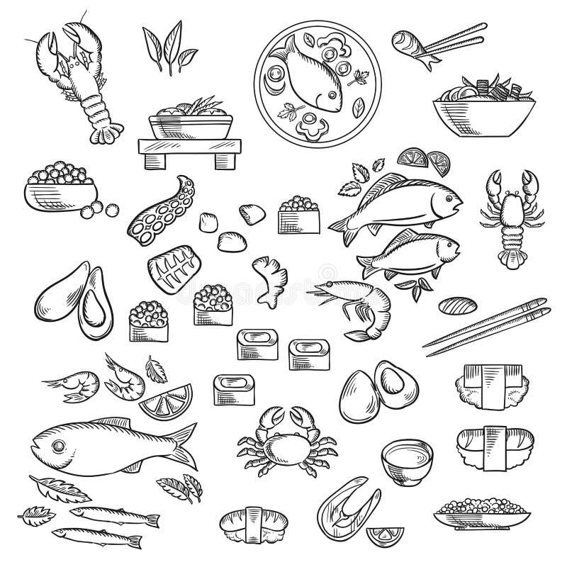 Owoce morza i garmażeria kreśliliśmy ikony royalty ilustracja