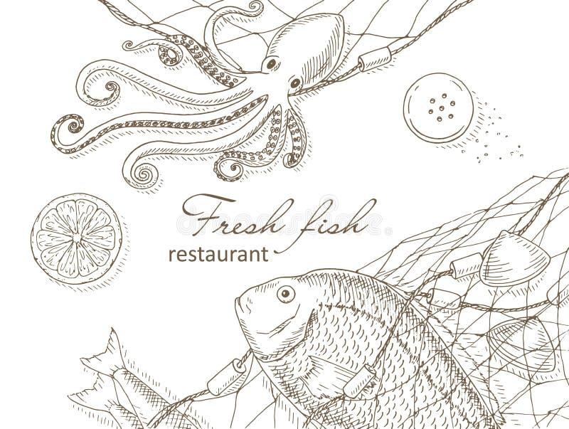 Owoce morza i ryba sieć ilustracja wektor