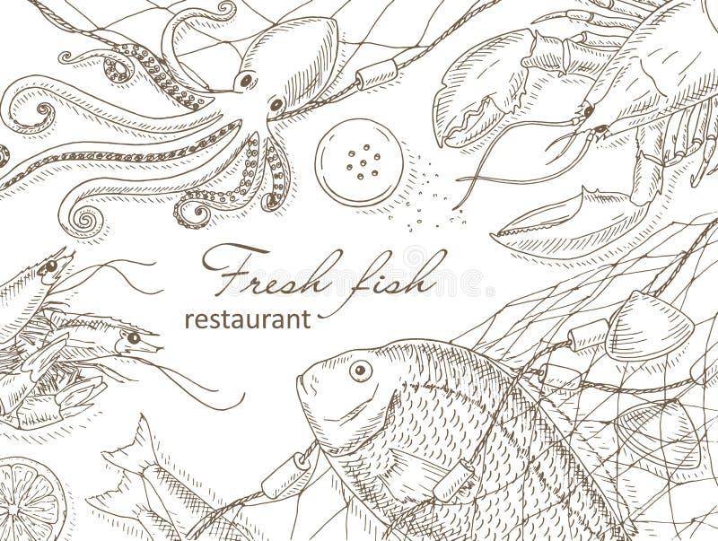 Owoce morza i ryba sieć royalty ilustracja