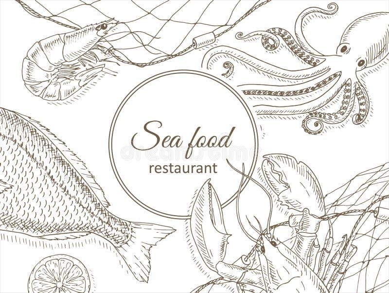 Owoce morza I ryba tło ilustracji