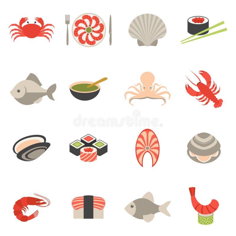 Owoce morza ikona ustawiający mieszkanie ilustracja wektor