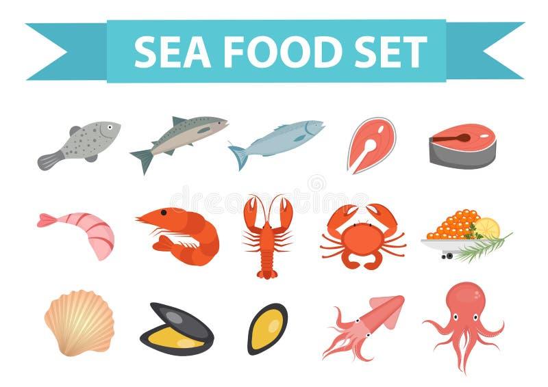 Owoce morza ikona ustawiający wektor, mieszkanie styl Dennego jedzenia kolekcja odizolowywająca na białym tle Rybi produkty ilust royalty ilustracja