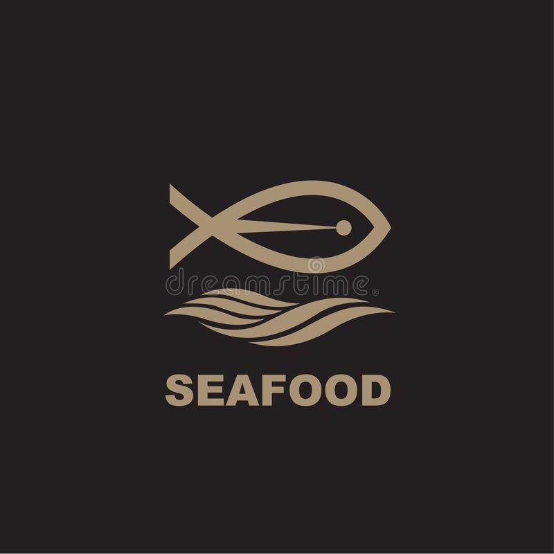 Owoce morza ikona z ryba ilustracji